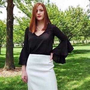 Zara black bell sleeve blouse